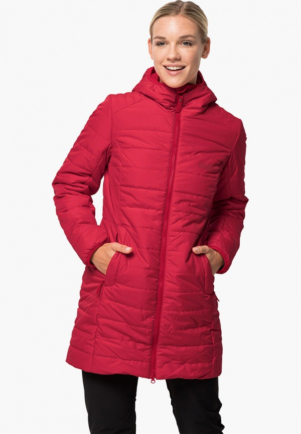 женская куртка jack wolfskin, красная
