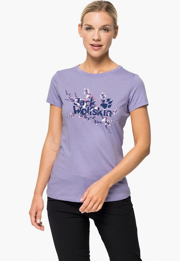 женская спортивные футболка jack wolfskin, фиолетовая