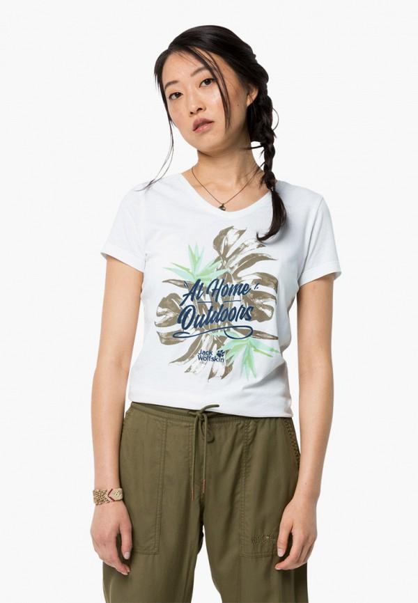 женская спортивные футболка jack wolfskin, белая