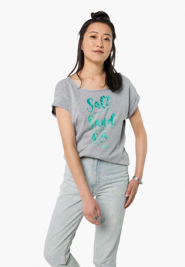 женская спортивные футболка jack wolfskin, серая
