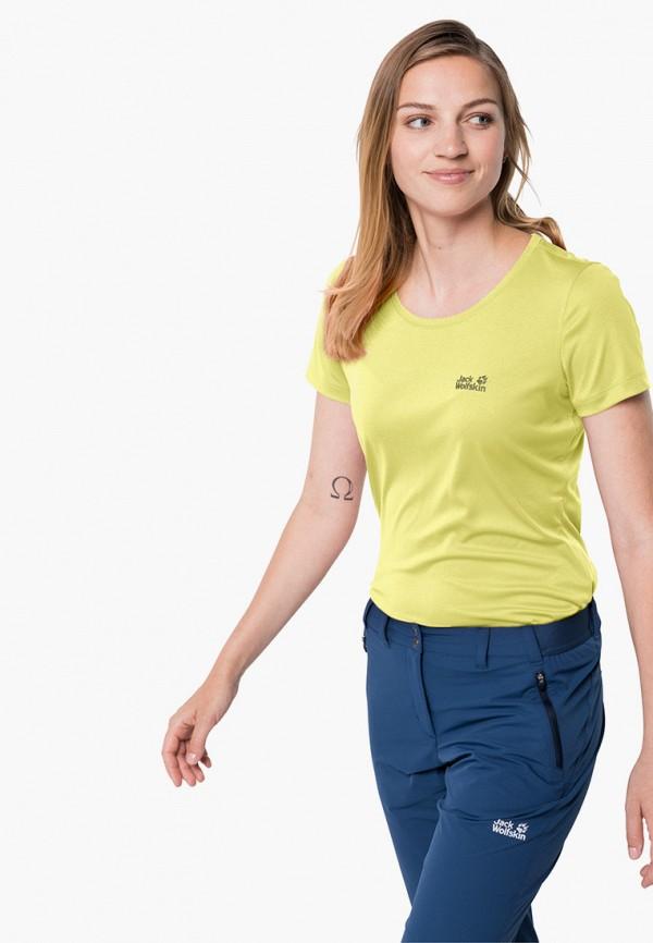 женская спортивные футболка jack wolfskin, желтая