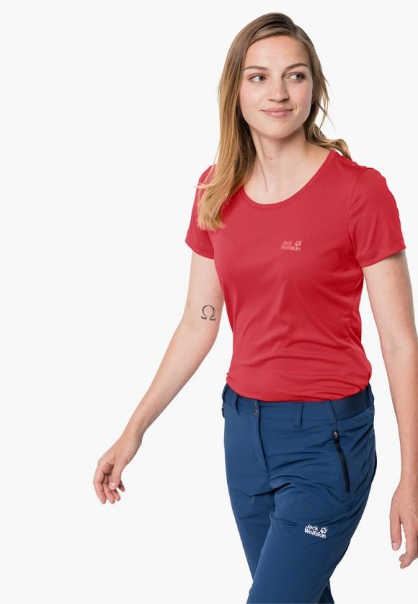 женская спортивные футболка jack wolfskin, красная