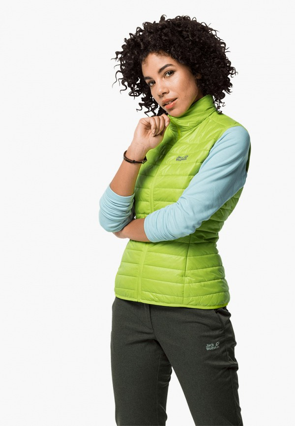 женский жилет jack wolfskin, зеленый