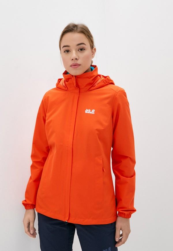 женская ветровка jack wolfskin, оранжевая