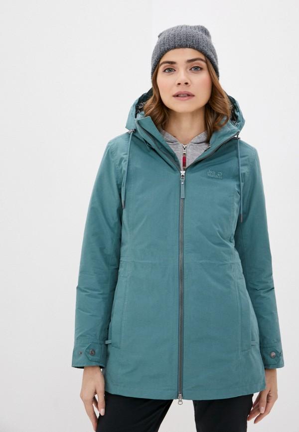 женская куртка jack wolfskin, зеленая