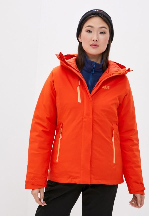 женская куртка jack wolfskin, оранжевая