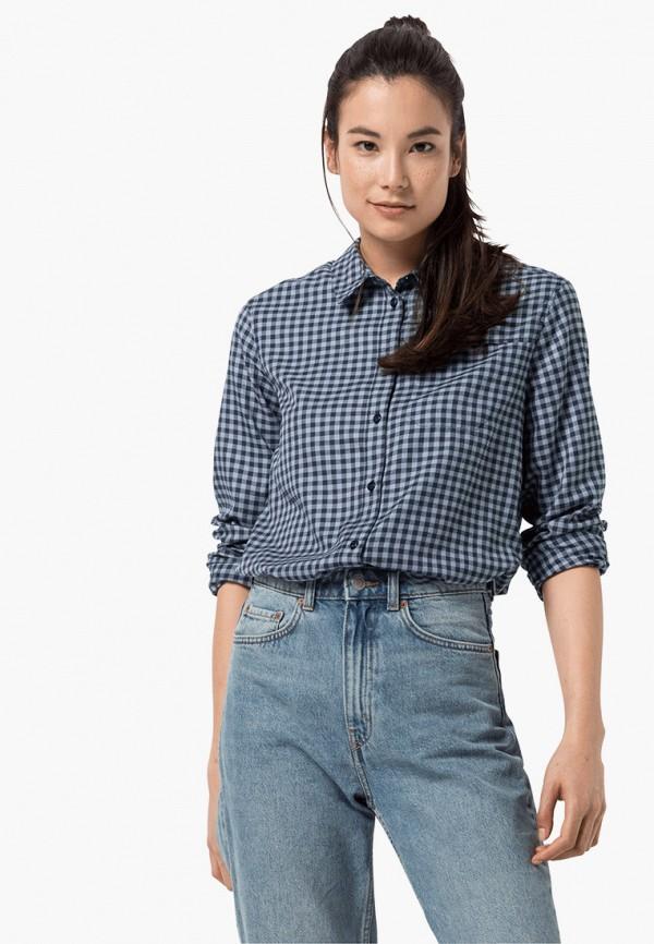 женская рубашка с длинным рукавом jack wolfskin, синяя