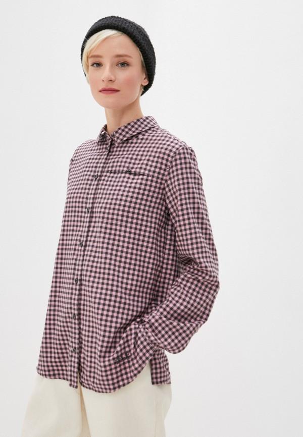 женская рубашка с длинным рукавом jack wolfskin, розовая