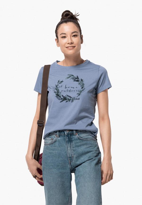 женская спортивные футболка jack wolfskin, голубая