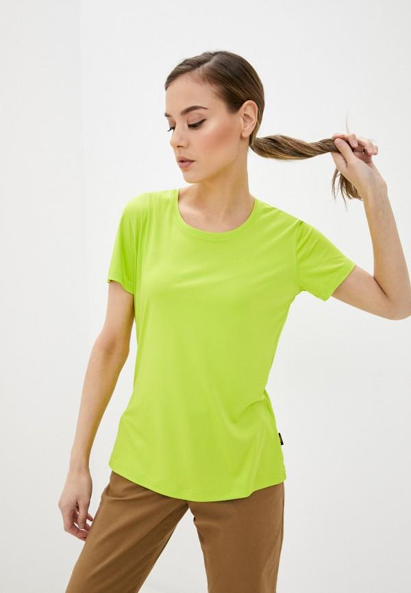 женская спортивные футболка jack wolfskin, зеленая