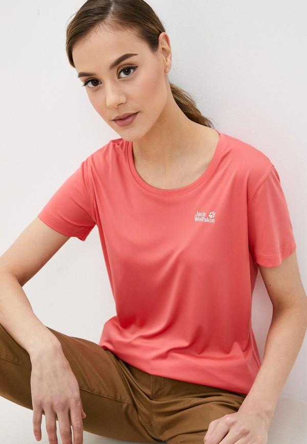 женская спортивные футболка jack wolfskin, оранжевая