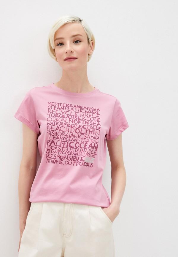 женская спортивные футболка jack wolfskin, розовая