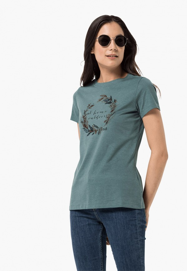 женская спортивные футболка jack wolfskin, синяя