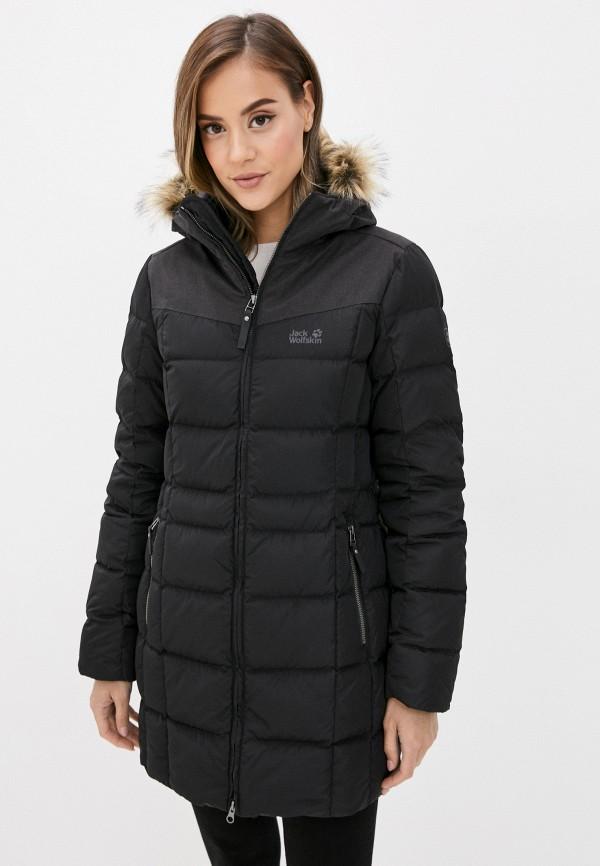 женская куртка jack wolfskin, черная