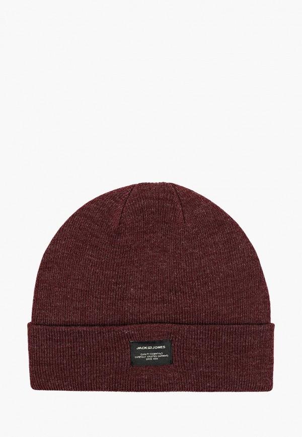 мужская шапка jack & jones, бордовая