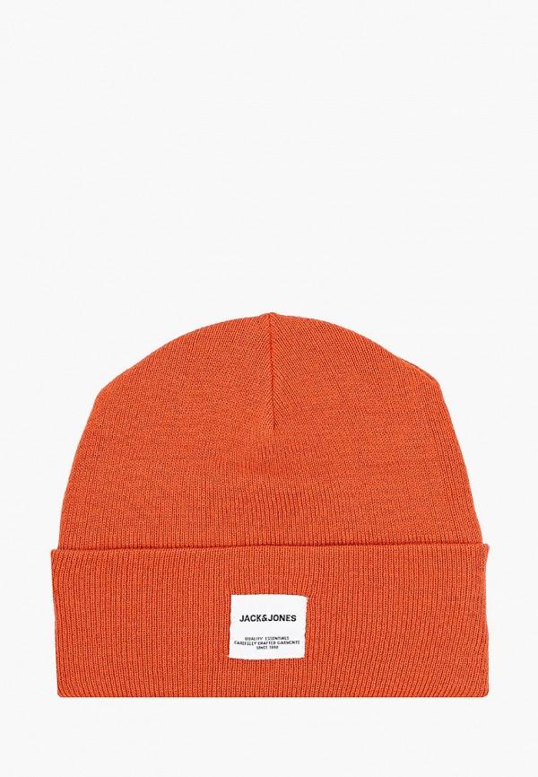 мужская шапка jack & jones, оранжевая