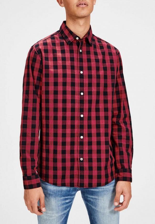 мужская рубашка с длинным рукавом jack & jones, красная