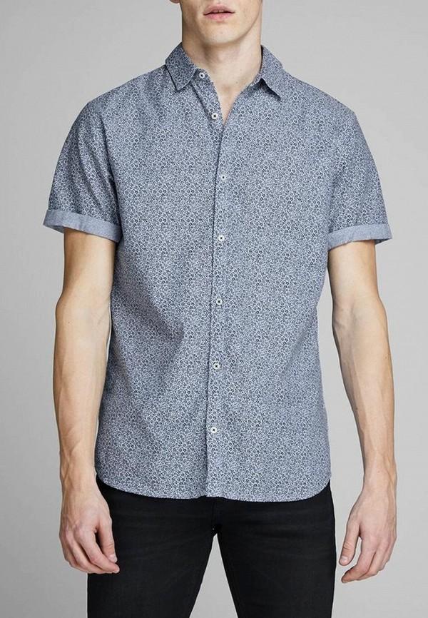 мужская рубашка с коротким рукавом jack & jones, синяя