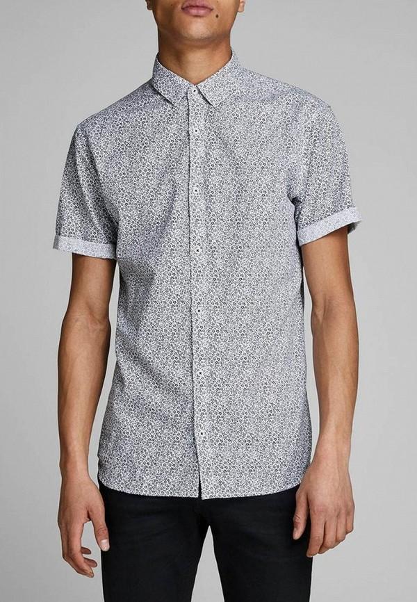 мужская рубашка с коротким рукавом jack & jones, серая