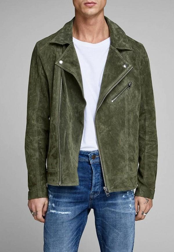 Купить Куртка кожаная Jack & Jones, ja391emdkeo8, хаки, Весна-лето 2019