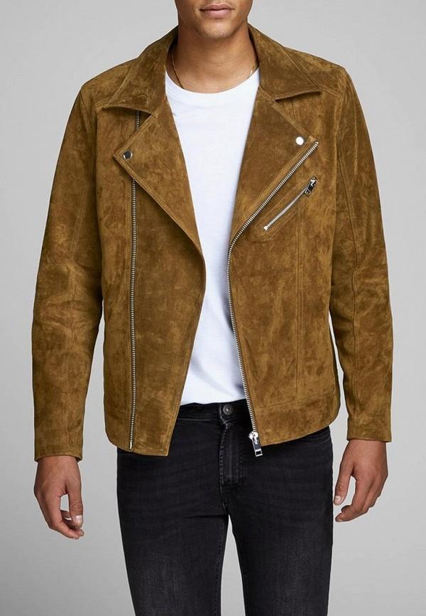Купить Куртка кожаная Jack & Jones, ja391emdkeo9, коричневый, Весна-лето 2019
