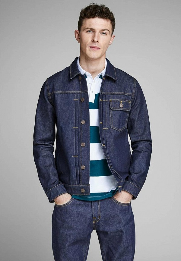 мужская джинсовые куртка jack & jones, синяя