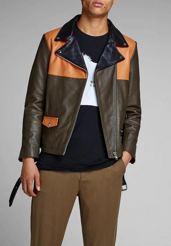 Купить Куртка кожаная Jack & Jones, ja391emdkfm7, хаки, Весна-лето 2019