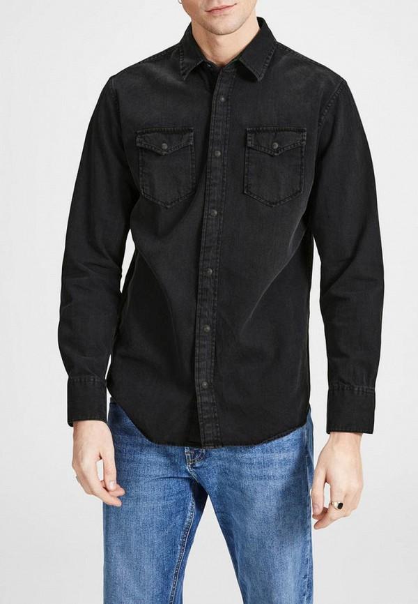 мужская рубашка с длинным рукавом jack & jones, черная