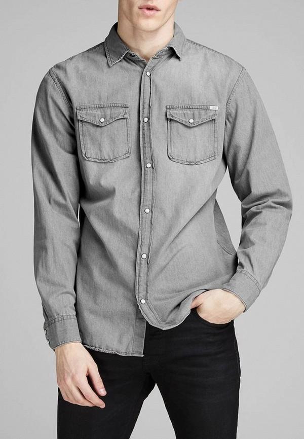 мужская джинсовые рубашка jack & jones, серая