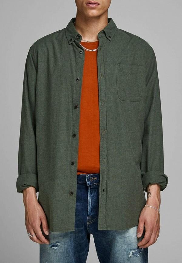 мужская рубашка с длинным рукавом jack & jones, хаки