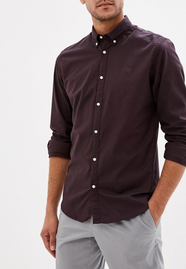 мужская рубашка с длинным рукавом jack & jones, бордовая