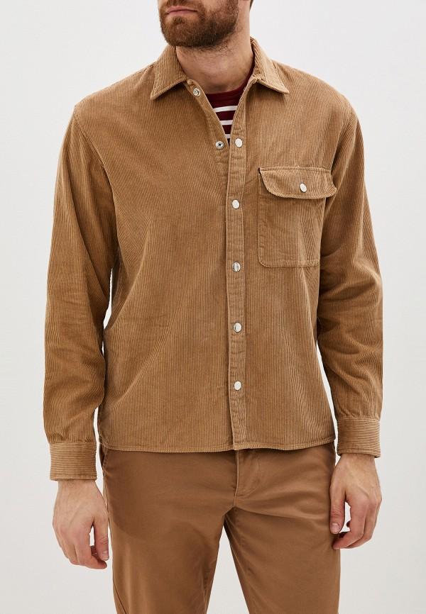 мужская рубашка с длинным рукавом jack & jones, бежевая