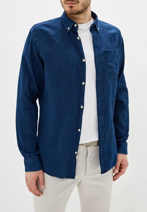мужская рубашка с длинным рукавом jack & jones, синяя