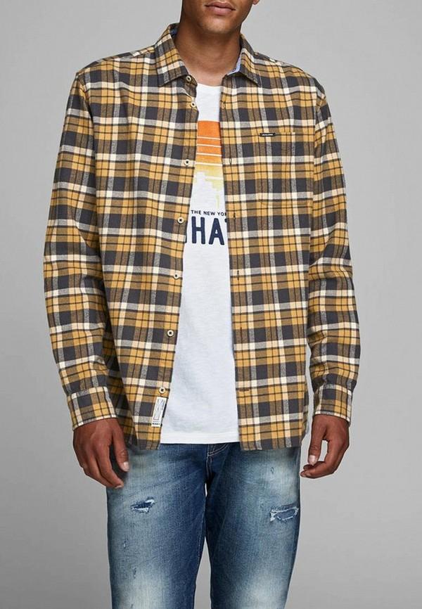 мужская рубашка с длинным рукавом jack & jones, желтая