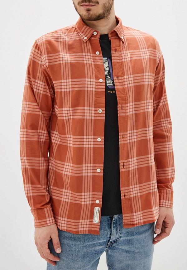 мужская рубашка с длинным рукавом jack & jones, коричневая
