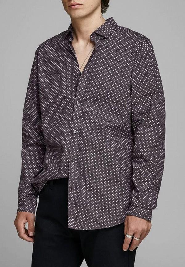 мужская рубашка с длинным рукавом jack & jones, фиолетовая