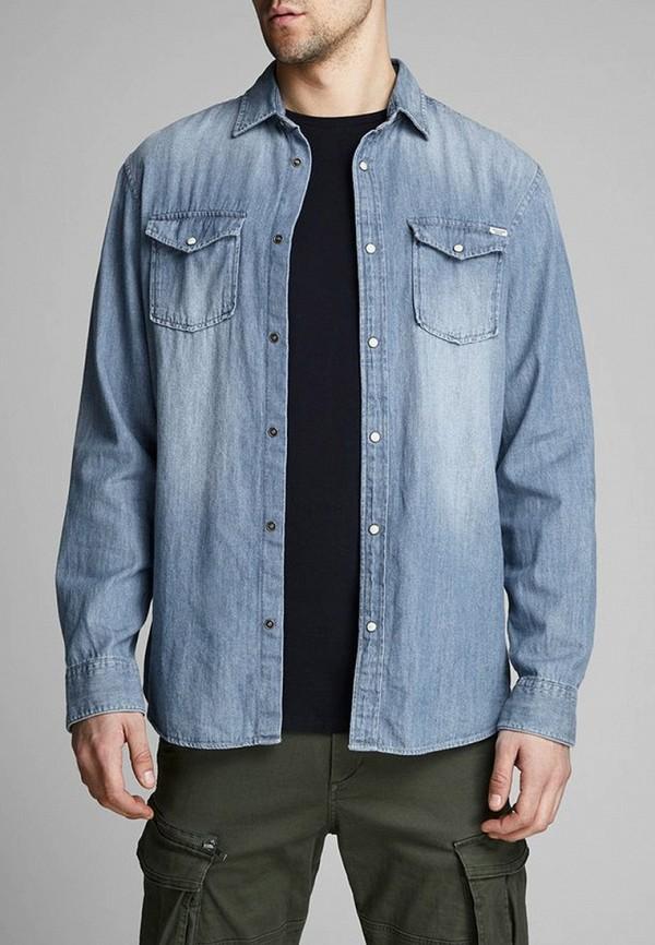 мужская джинсовые рубашка jack & jones, голубая