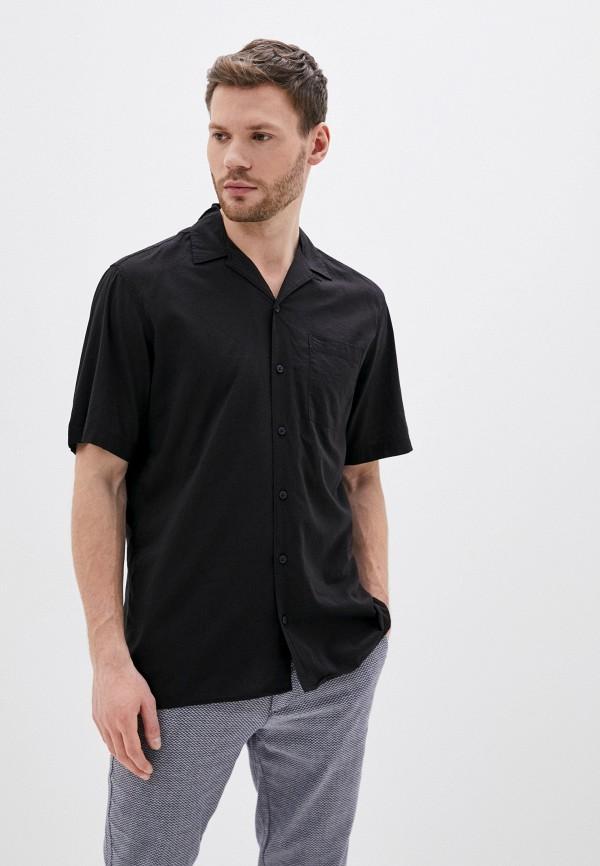 мужская рубашка с коротким рукавом jack & jones, черная