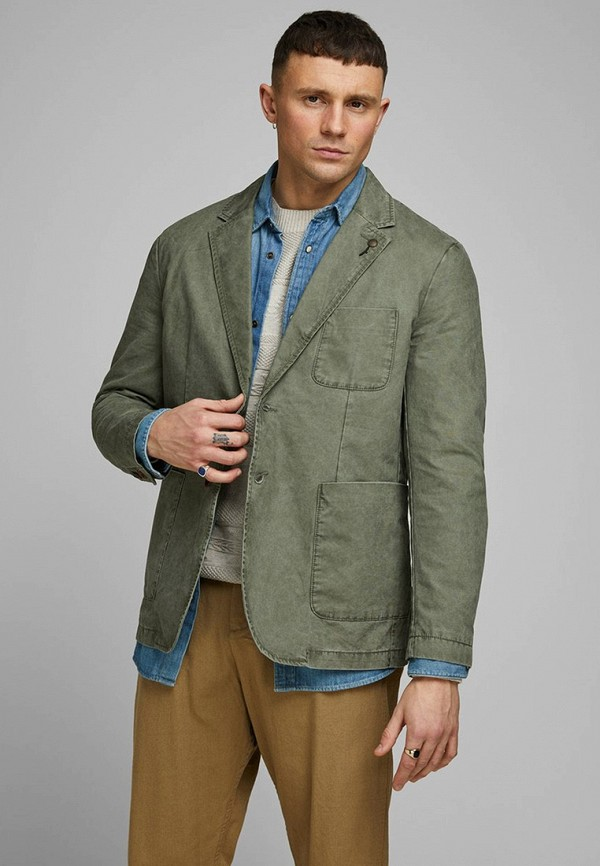 мужской пиджак jack & jones, зеленый