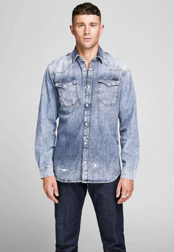 мужская джинсовые рубашка jack & jones, синяя