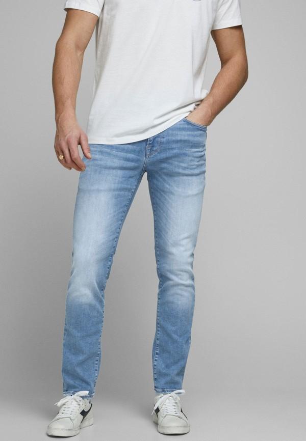 мужские зауженные джинсы jack & jones, голубые