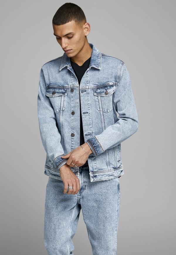 мужская джинсовые куртка jack & jones, голубая