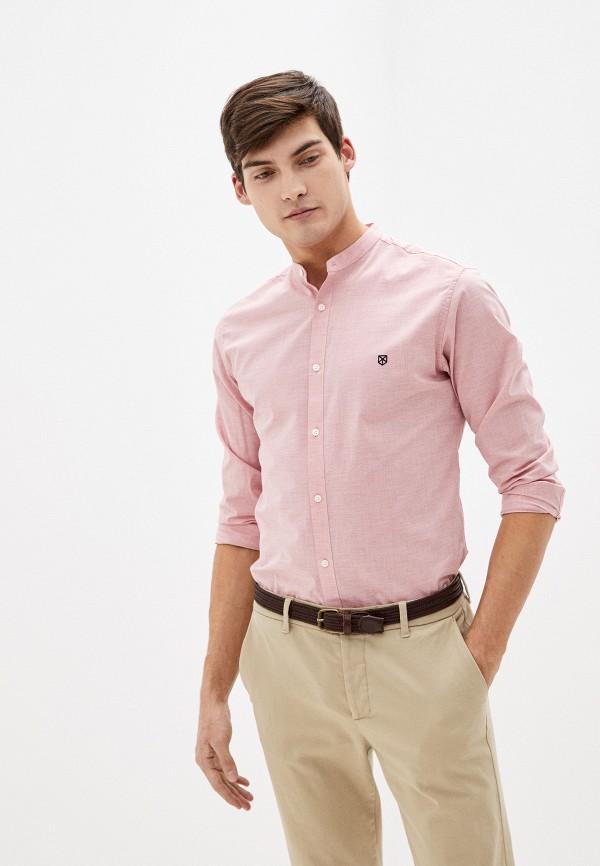 мужская рубашка с длинным рукавом jack & jones, розовая