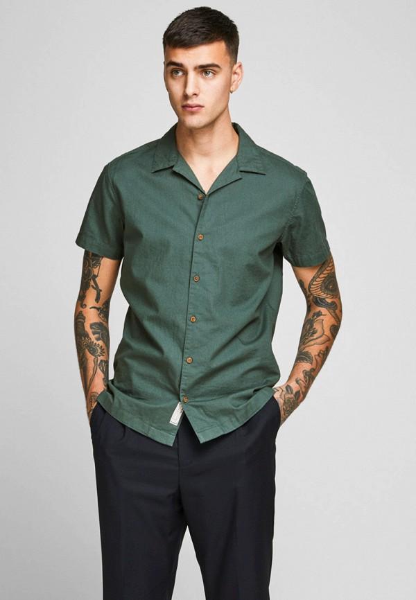 мужская рубашка с коротким рукавом jack & jones, зеленая