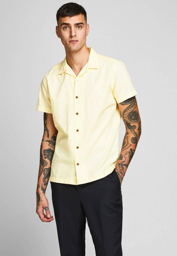 мужская рубашка с коротким рукавом jack & jones, желтая