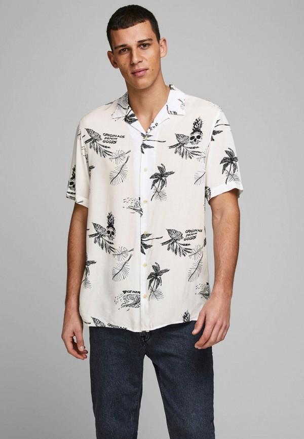 мужская рубашка с коротким рукавом jack & jones, белая