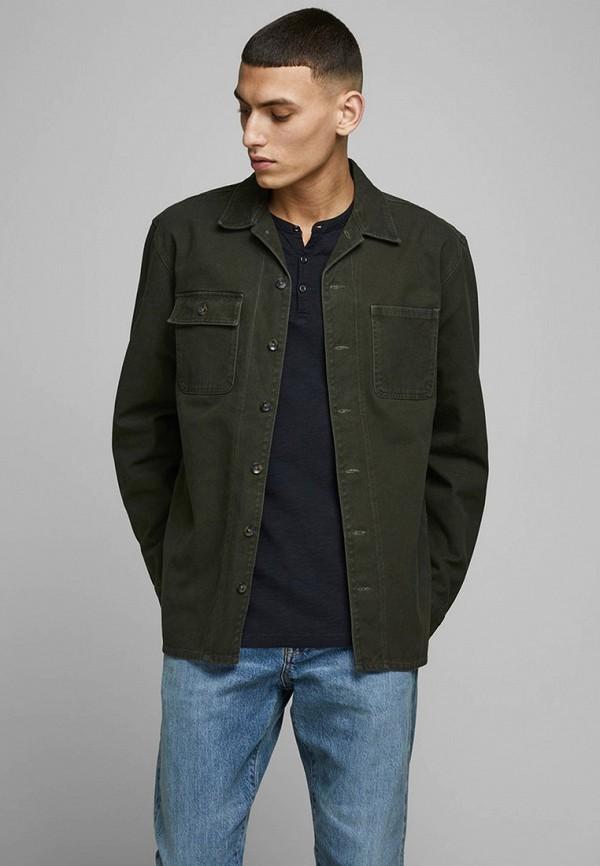 мужская джинсовые рубашка jack & jones, зеленая