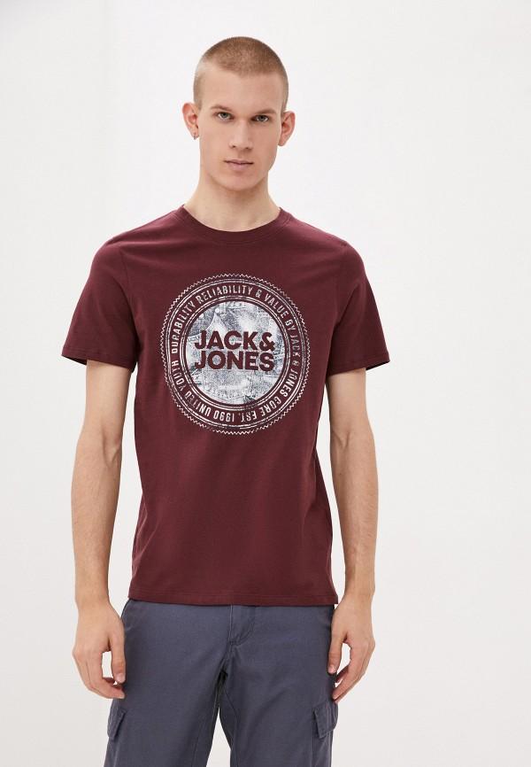 мужская футболка с коротким рукавом jack & jones, бордовая