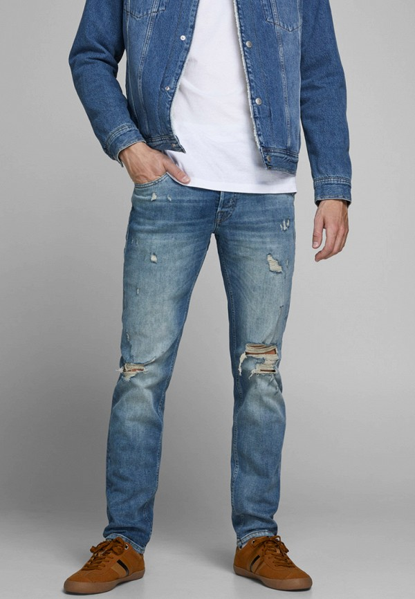 мужские прямые джинсы jack & jones, голубые