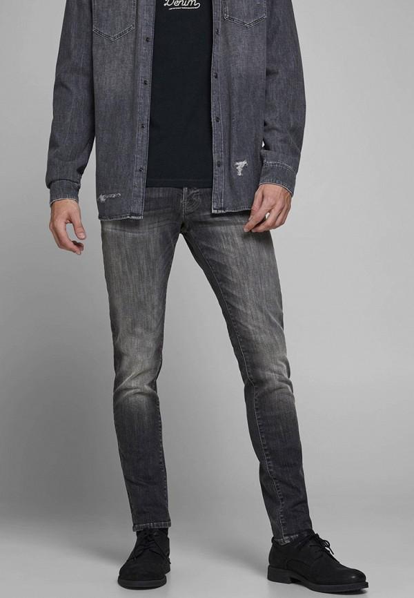 мужские зауженные джинсы jack & jones, серые